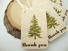 Thank You Tags Rustic Pine Tree Woodland Wedding - via Etsy.