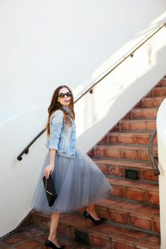 tulle Skirt, denim jacket, striped shirt