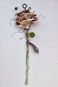 SCRAPBOOK ABUNDANCE: Tattered rose - created with canvas corp and tattered angels product s- mixed media flowers