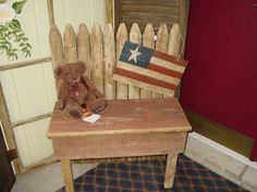 country primitive picket fence bench barn wood garden porch decor rustic via Etsy
