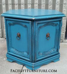 Hexagon End Table in distressed Peacock Blue with Black Glaze. From Facelift Furniture's End Tables collection. hexagon tabl, blue hexagon, facelift furnitur, end tables, peacock blue, hexagons, furniture, black glaze, blues
