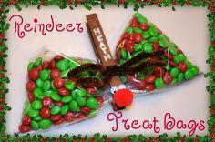 Reindeer Treat Bags - snack zip lock, glue gun, kids like painting reindeer brown.  can use ANY kind of treat in snack bag.  good as a take to school snack/gift