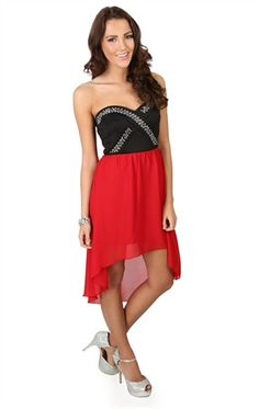 Deb Shops High Low Dress with #Gold Criss Cross Detailing and Contrast Skirt $42.90