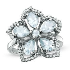 Aquamarine+and+White+Topaz+Flower+Ring+in+Sterling+Silver