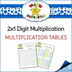 "MATH SUPERSTAR - Time Tables from Catia Dias on TeachersNotebook.com -  (2 pages)  - The ""MATH SUPERSTAR 2 by 1 Digit Multiplication Set"" is a set designed to help students with 2 by 1 digit multiplication concepts. This resource is part of the whole set but I have made it into a stand alone resource for those who are not intere"