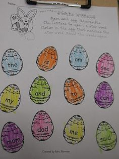 egg sight word activity