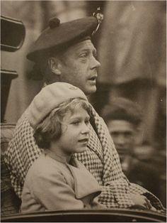 HM King Edward VIII (later Duke of Windsor) with his niece, Princess Elizabeth of York (later Queen Elizabeth II).  The only photograph of just the two of them (that I've seen).