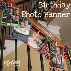 Birthday Photo Banner with pictures from each month leading up to your child's birthday by Wait Til Your Father Gets Home! #banner #birthday #photos #memories