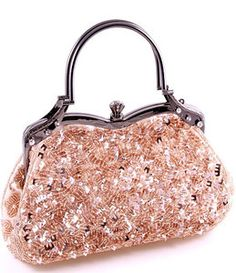 Champagne Glass Bead & Sequins Evening Bag