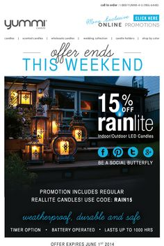 15% Off All Rainlite and Reallite Flameless Candles - This Weekend Only!