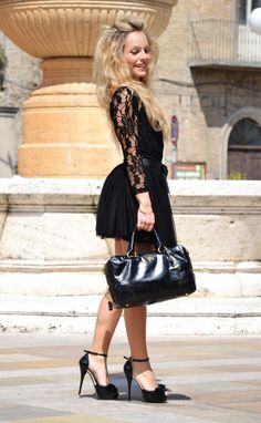 Little black lace dress with ankle strap high heels. Fantastic
