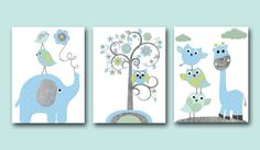 Elephant Nursery Giraffe Nursery Baby Boy Nursery room decor kids wall art print