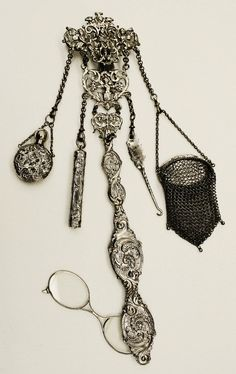 Chatelaine: ca. 1700-1900, American, silver.