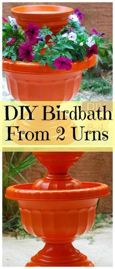 DIY birdbath from urns