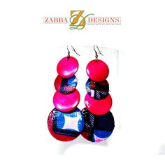 Art Deco Fabric Wood Earrings  Large And Small  by ZabbaDesigns