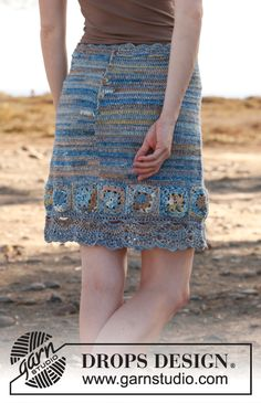 A beautiful #crochet skirt with squares in Fabel. By #DROPSDesign