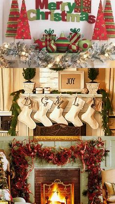 A Whole Bunch Of Christmas Mantels 2013 - Christmas Decorating - Top picture.  Make the trees with wood.  Use for tv cabinet décor