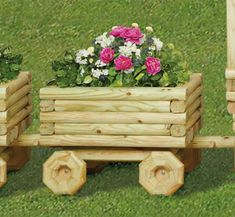 DIY: Landscape Timber Train Car Planter Pattern. Make one or make a dozen of our landscape Timber Train Cars to add behind our Landscape Timber Locomotive...its sure to be the focal point of your yard or garden! Fill these low-cost planters directly with potting soil or simply place your favorite pre-potted plant inside.