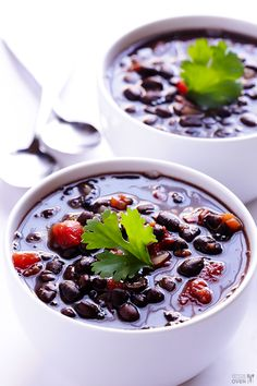 This 5 Ingredient Black Bean Soup Recipe is full of amazing flavor, and ready to go in just 20 minutes! gimmesomeoven.com