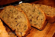 Deep South Dish: Zucchini Nut Bread - 3 large eggs - canola oil - sugar - brown sugar - flour - kosher salt - chopped walnuts or pecans - 2 cups shredded zucchini