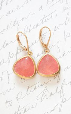 Pink Glass Drop Earrings Matte Gold Brass