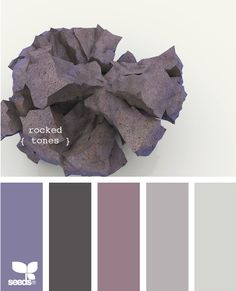 """Rocked"" hues.  I definitely love this for our next bedroom.  The soft purples are romantic, but the silver and slate colors might help tone down the overt femininity, making it a more appealing space for my husband.  Lots of lush fabrics like velvet and raw silk, plus my black fur duvet cover would make this a soft and romantic getaway at the end of the day."