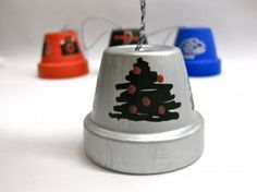 O Christmas Tree  Bell made with clay pot and Sharpies. christma tree, christmas trees, clay pots