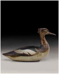 A rare red-breasted Merganser Hen bird decoy by carver Lothrop Holmes (1821 - 1899) ducki, sculpturedrw, carv wooden, wildfowl carv, duck decoy, antiqu decoy, wooden decoy, bird decoy