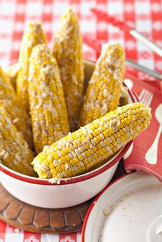 Grilled Parmesan corn on the cob.