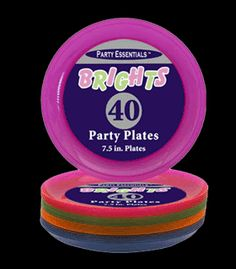 Assorted Neon Blacklight Reactive 7.5 Inch Sturdy Plastic Party Plates - 40 pack    Order Code: N74090    Your Cost:  $11.99