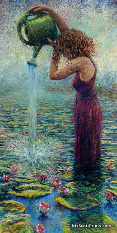 Thirsty Water Lillies - by Iris Scott, finger painting artist.