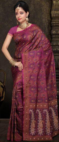 Magenta Pure Satin #Silk #Banarasi Tanchhoi #Saree With Blouse @ $316.39 | Shop @ http://www.utsavfashion.com/store/sarees-large.aspx?icode=shr15