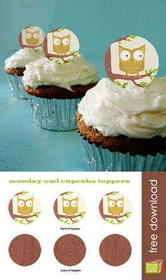 owl cupcake toppers - free printable