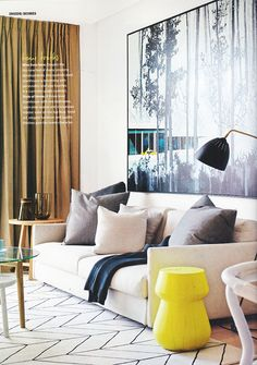 Inside Out Magazine October 2013 | A sophisticated townhouse brimming with personality and luxe touches thanks to our Knot Chair & Lean Light. www.greatdanefurn... www.greatdanefurn...