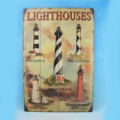 "Decorative Nautical Wall Plaque 24"" Wooden Lighthouse Nautical Decor Light house decoration"