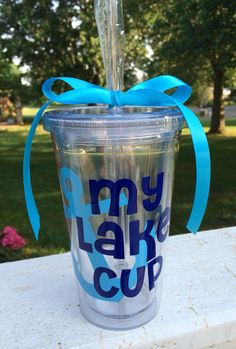My Lake Cup Tumbler 16 oz Acrylic Tumbler by CustomVinylbyBridge, $14.00