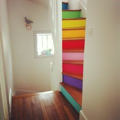 feng shui, kid playroom, basement stairs, kid rooms, stair riser, home stairs, rainbow colors, diy projects, bright colors