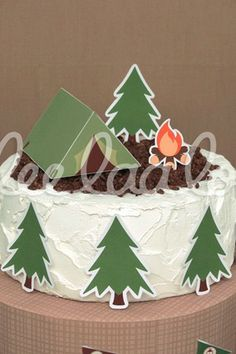 Cool cake at a Camping Birthday Party!  See more party ideas at CatchMyParty.com!
