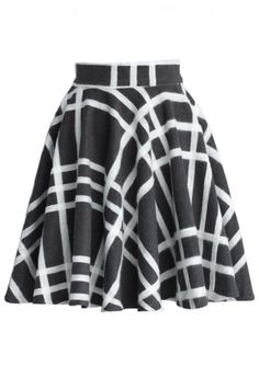 Crossing Stripes Wool Blend Skater Skirt
