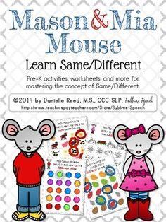 New Pre-K series: Mason & Mia Mouse.  Same/Different is now available on the @SublimeSpeech TpT site. #SLPeeps #SLP2b #PreK #EI