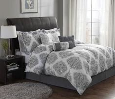 gray and white damask bedding, damask bedding, gray bedding, medallion bedding, gray and white medallian bedding