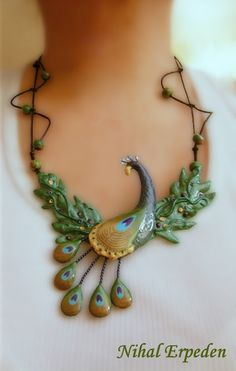Polymer Clay Peacock Necklace by Nihal Erpeden / http://nihalerpeden.blogspot.ca/