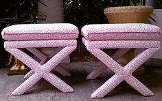 Pair of Pink Cheetah print Lilly Pulitzer X Benches D.I.Y. -- REUPHOLSTERY