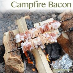 Campfire bacon.  We used to do something like this with deer cut into strips, kind of like square deer dogs roasted over the fire.