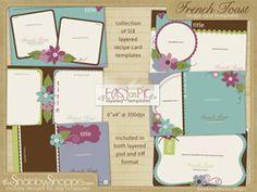 digit scrapbook, scripts, scrapbook product, recip card, card templates