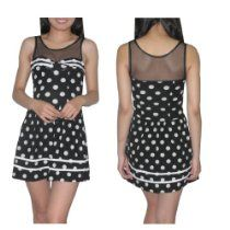 Womens Thai Exotic Sexy Fitted Sleeveless Clubwear Mini Dress / Party Dress - Black & White
