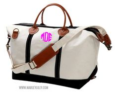 Monogrammed Black Sunshine Satchel Duffle Bag | Marley Lilly
