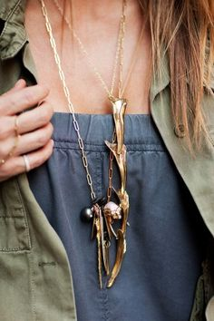 Love the necklace, top and army green jkt combo