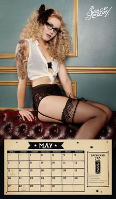 @BTSlingerie birds of play hi waist in INKED mag sailor jerry pinup calendar - Miss May