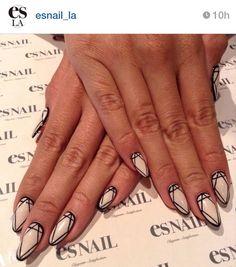 Diamond Stiletto Nails | Nailspiration | Manicure Monday #manimonday | Nail Art | Black & White Nails